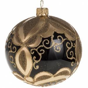 Boule de Noel verre noir peint à la main or 10 cm s1