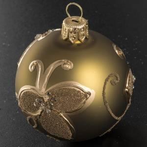 Boule de Noel verre or décorations 6 cm s2