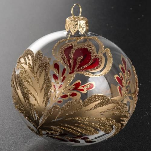 Boule de Noel verre soufflé fleur rouge or 8cm s2