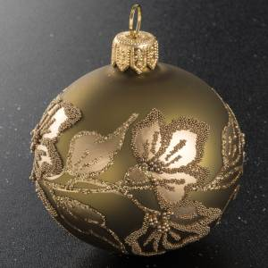 Boule de Noel verre soufflé transparent or 6 cm s2