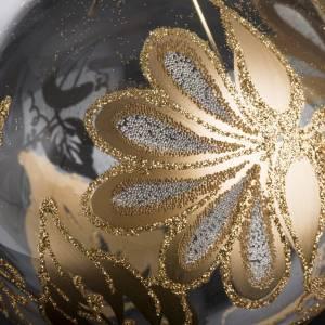 Boule de Noel verre transparent décorée or 10 cm s3