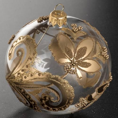 Boule de Noel verre transparent peint fleurs dorées 10 cm s2