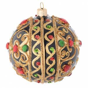 Boule Noël noire et or pierres rouges 100 mm s2