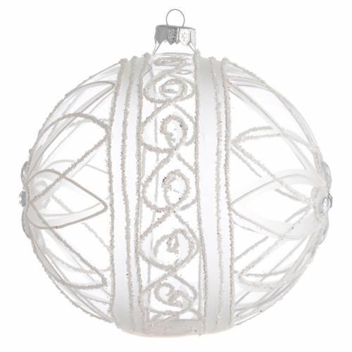 Boule Noël transparente décor fleur blanche 150 mm s2