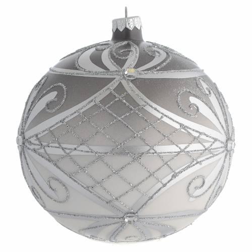 Boule Noël verre soufflé mat argent 150 mm s2
