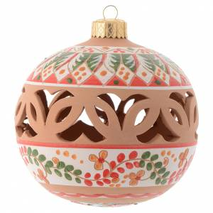 Décorations sapin bois et pvc: Boule pour sapin de Noël rouge terre cuite Deruta 100 mm