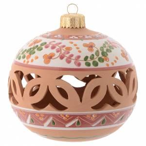 Décorations sapin bois et pvc: Boule Sapin de Noël terre cuite Deruta 100 mm vieux rose