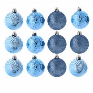 Décorations sapin bois et pvc: Boules Sapin Noël bleu 60 mm