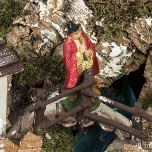 Bourg crèche Noel 74x43x36 cm avec cascade s3