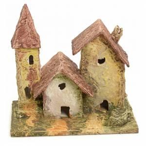 Bourg en miniature pour crèche maison et clocher stucqués s1