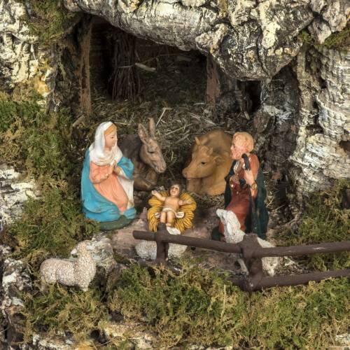 Bourg illuminé crèche Noel avec étable cascade s14