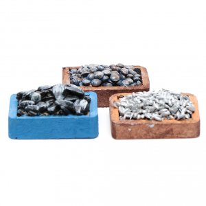 Miniature food: Boxes with fish and mussels set of 3 pieces
