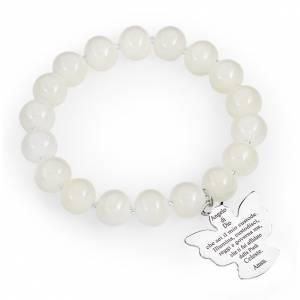 Bracciale AMEN perle Murano bianco 10 mm argento 925 s1