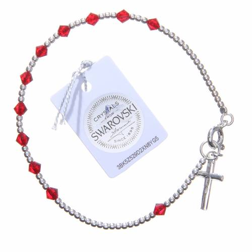 Bracciale argento 800 cristallo Swarovski conico 4 mm rosso s2