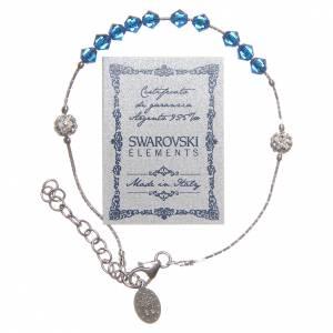 Bracciale Argento 925 e Swarovski con grano blu borealizzato s2