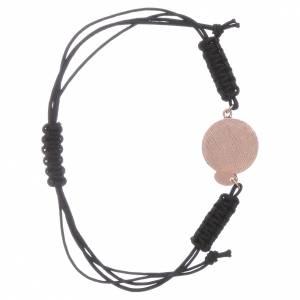 Bracciale cordino e medaglietta Madonna Miracolosa arg 925 rosé s2