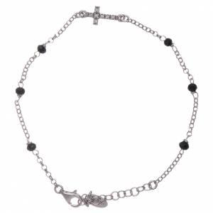 Bracciale croce zirconata AMEN e cristalli neri s1