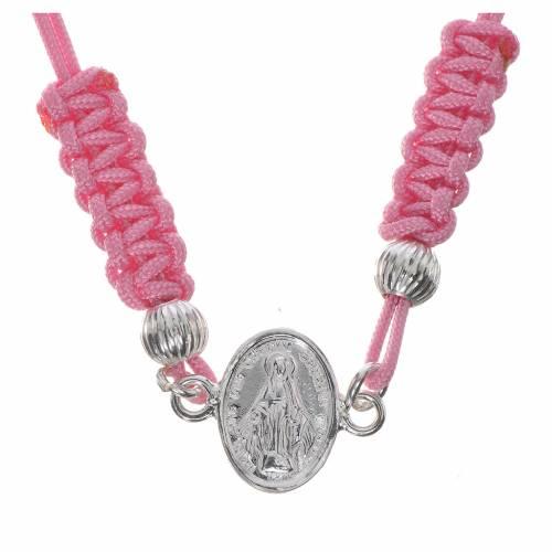 Bracciale Miracolosa corda rosa argento 800 s1