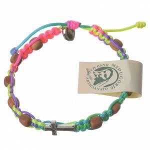 Bracciali, coroncine della pace, decine: Bracciale Medjugorje corda multicolor grani ulivo