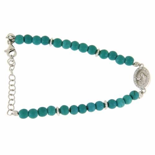 Bracciale perline pasta turchese medaglia S. Rita zirconi bianchi - argento 925 s1