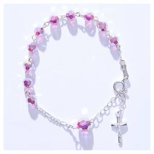 Bracciale rosario cristallo Swarovski 6 mm rosa s4