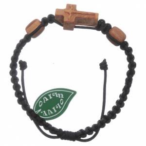 Bracelets, dizainiers: Bracelet à corde noire Medjugorje croix olivier 2 grains