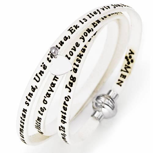 Bracelet Amen Je t'aime avec pendentif blanc s1