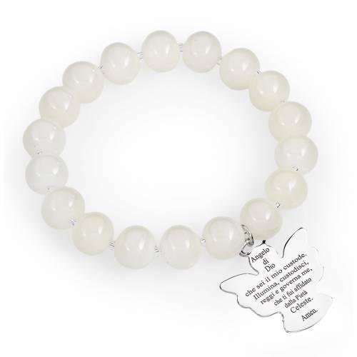 Bracelet Amen perles verre Murano blanc 10 mm argent 925 s1