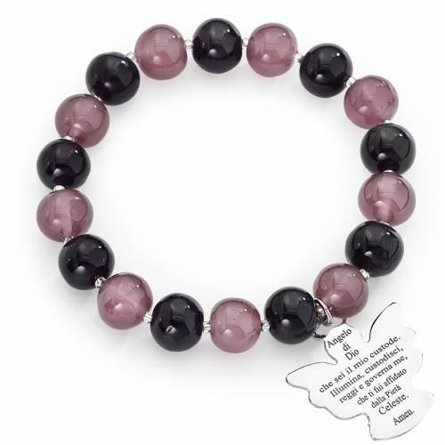 Bracelet Amen perles verre Murano mauve-violet 10 mm argent 925 s1