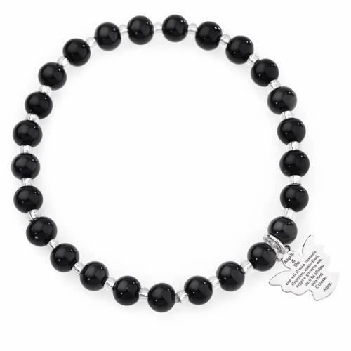 Bracelet Amen perles verre Murano noir 6 mm argent 925 s1