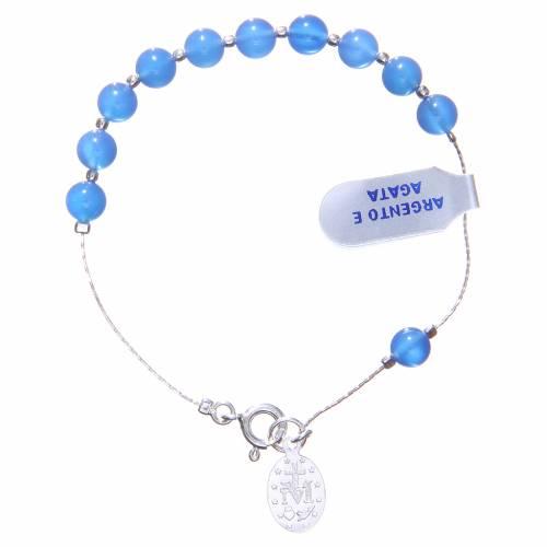 Bracelet argent 800 agate bleue 6 mm s2