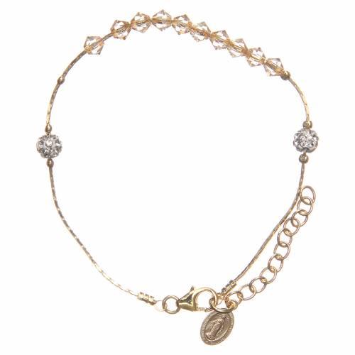 Bracelet argent 925 doré et Swarovski grains ambrés s1