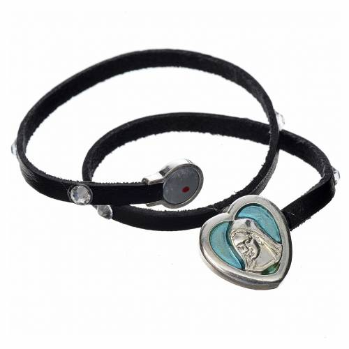 Bracelet black leather Swarovski Virgin Mary pendant blue enamel s2