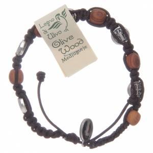 Bracelet bois d'olivier croix Saint Benoît corde marron s2