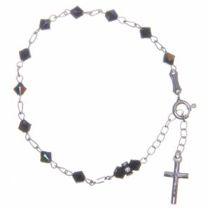 Bracelet chapelet cristaux Swarovski coniques noirs 5 mm s1