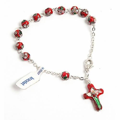 Bracelet-Dizainier,  cloisonné, rouge s1