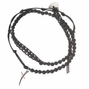 Bracelet chapelet en pierre de lave et hématite 4mm s1