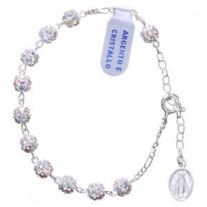 Bracelet chapelet grains strass blancs s1