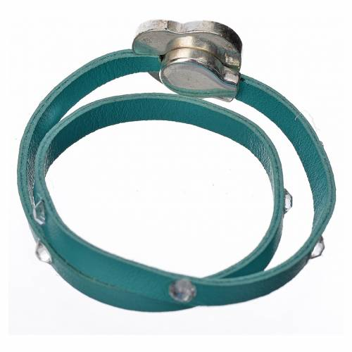Bracelet cuir bleu clair et Swarovski image Vierge Marie s3