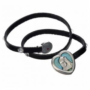 Bracelet cuir noir et Swarovski image Vierge Marie émail bleu s2