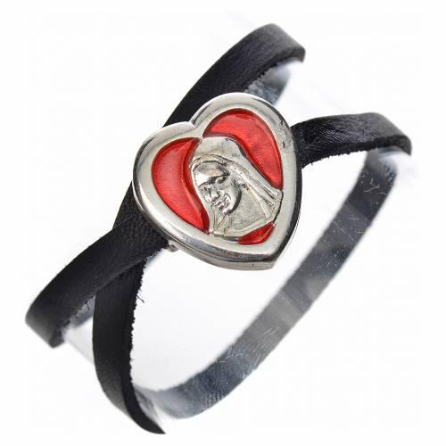 Bracelet cuir noir image Vierge Marie émail rouge s1