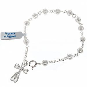 Bracelets en argent: Bracelet dix grains, filigrane et  argent