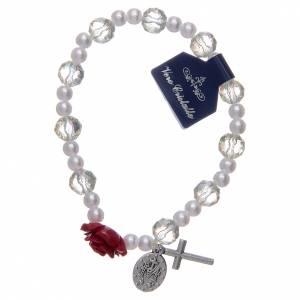 Bracelet élastique avec grains blancs et pater en forme de rose s2