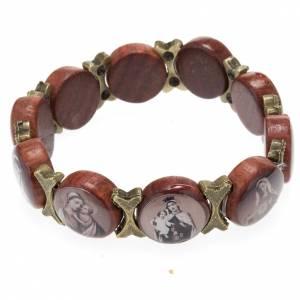 Bracelets avec images en bois: Bracelet élastique images pieuses marron bronze