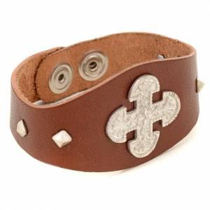 Bracelets en argent: Bracelet en cuir marron avec décorations en argent 925