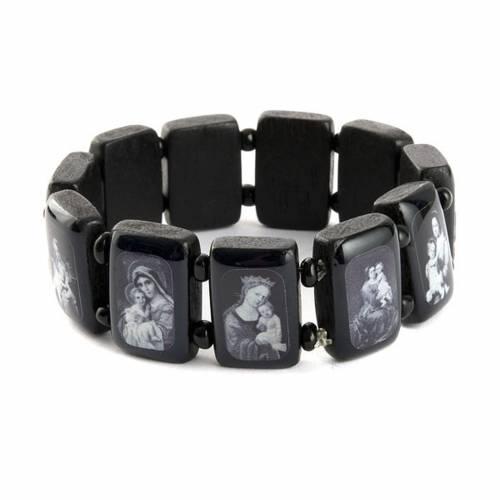 Bracelet images pieuses Vierge Jésus Saints, noir s5