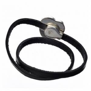 Bracelet in black leather with Virgin Mary pendant blue enamel s3