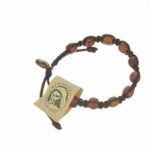 Bracelets, peace chaplets, one-decade rosaries: Bracelet in cord and olive wood grains 9mm