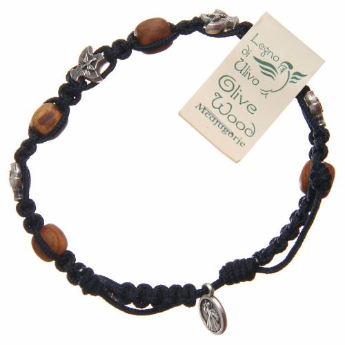 Bracelet Medjugorje corde bleu foncé bois olivier s2