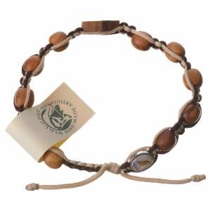 Bracelets, dizainiers: Bracelet Medjugorje corde marron beige grains olivier